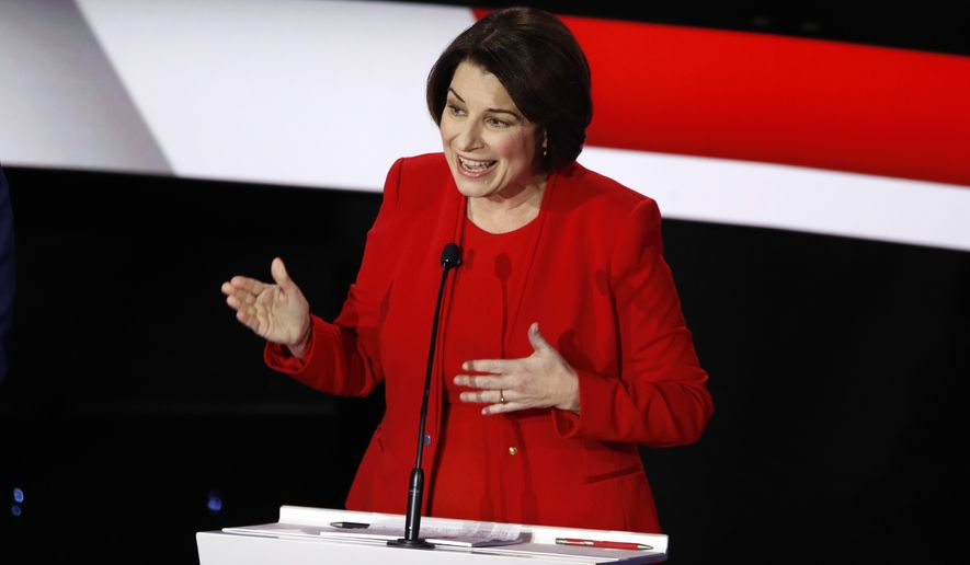Democratic presidential candidate Sen. Amy Klobuchar, D-Minn., answers a question Tuesday, Jan. 14, 2020, during a Democratic presidential primary debate hosted by CNN and the Des Moines Register in Des Moines, Iowa. (AP Photo/Patrick Semansky)