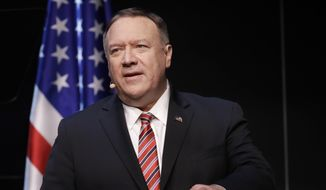 Secretary of State Mike Pompeo speaks at the Commonwealth Club in San Francisco, Monday, Jan. 13, 2020. (AP Photo/Jeff Chiu)