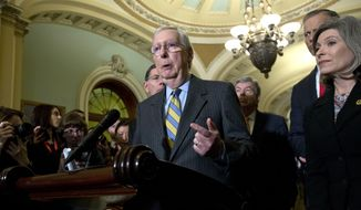 Senate Majority Leader Mitch McConnell, R-Ky., accompanied by Sen. Joni Ernst R-Iowa, and other senators, speaks during a news conference outside of the Senate chamber, on Capitol Hill in Washington, Tuesday, Jan. 14, 2020. (AP Photo/Jose Luis Magana)