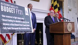 Maryland Gov. Larry Hogan outlines his budget proposal for the next fiscal year during a news conference Tuesday, Jan. 14, 2020 in Annapolis, Maryland. Hogan noted that his budget plan includes new money to fight violent crime. The Republican governor also highlighted education funding and plans to fully fund Chesapeake Bay restoration efforts. Keiffer Mitchell, Hogan's chief legislative officer is standing left. David Brinkley, Hogan's budget chief, is standing right. (AP Photo/Brian Witte)