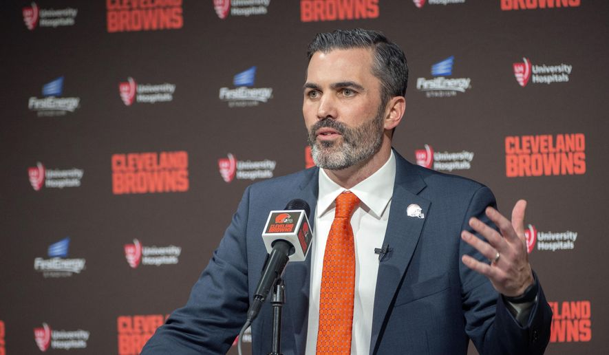 Cleveland Browns new NFL football head coach Kevin Stefanski answers a question during a news conference at FirstEnergy Stadium in Cleveland, Tuesday, Jan. 14, 2020. (AP Photo/Phil Long)