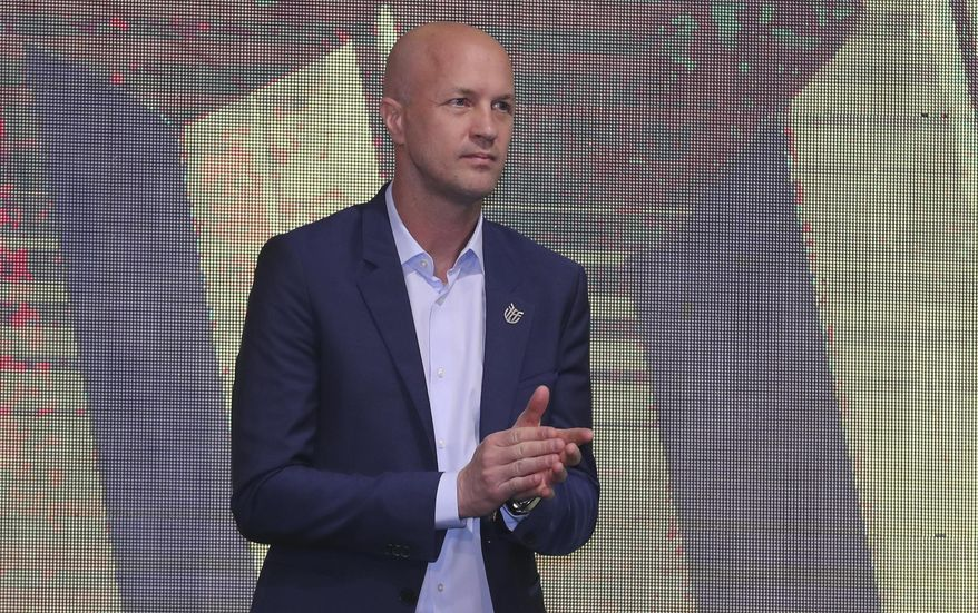 Jordi Cruyff attends an event where he is introduced as the new coach of Ecuador's national soccer team in Quito, Ecuador, Monday, Jan. 13, 2020. Cruyff is the Dutch son of the legendary soccer player Johan Cruyff. (AP Photo/Dolores Ochoa)