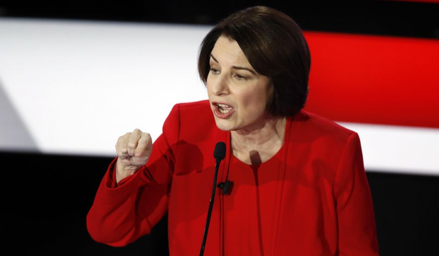 Democratic presidential candidate Sen. Amy Klobuchar, D-Minn., speaks Tuesday, Jan. 14, 2020, during a Democratic presidential primary debate hosted by CNN and the Des Moines Register in Des Moines, Iowa. (AP Photo/Patrick Semansky) ** FILE **
