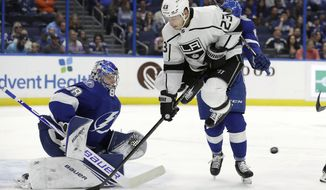 Los Angeles Kings right wing Dustin Brown (23) screens Tampa Bay Lightning goaltender Andrei Vasilevskiy (88) on a goal by left wing Kyle Clifford (not shown) during the first period of an NHL hockey game Tuesday, Jan. 14, 2020, in Tampa, Fla. (AP Photo/Chris O'Meara)