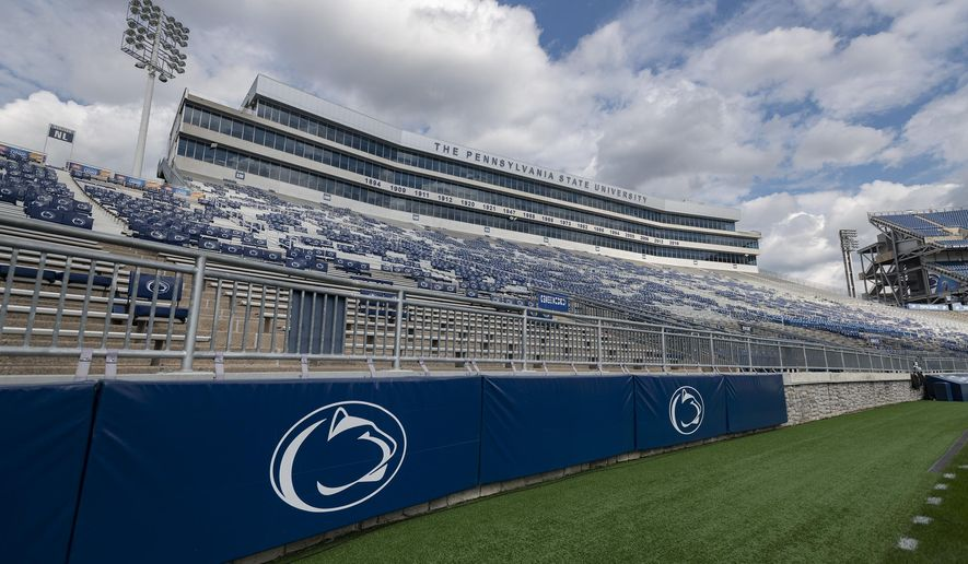FILE  -This Sept. 7, 2019, file photo, shows Beaver Stadium before an NCAA college football game between Penn State and Buffalo in State College, Pa.  A football player who transferred from Penn State claims in a lawsuit filed Monday, Jan. 13, 2020, against the university, and head coach James Franklin, that other Nittany Lions players hazed him and other younger teammates, including allegations they imitated sexual acts in the shower and invoked Jerry Sandusky's name (AP Photo/Barry Reeger, File)