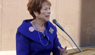 Republican state Sen. Sylvia Allen speaks to opponents of Arizona's current sex education laws at the state Capitol in Phoenix, Tuesday, Jan. 14, 2020. Allen conceded that her proposal to ban instruction before 7th grade and tighten parental notification requirements was going nowhere but vowed to keep trying. (AP Photo/Bob Christie)