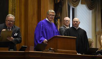 Senate President Harvey Peeler, R-Gaffney, presides over the opening day of South Carolina's 2020 legislative session on Tuesday, Jan. 14, 2020, in Columbia, S.C. (AP Photo/Meg Kinnard)