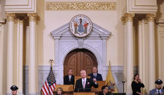 New Jersey Gov. Phil Murphy, center, speaks at the State of the State address in Trenton, N.J., Tuesday, Jan. 14, 2020. Murphy, a Democrat, delivered his second State of the State speech Tuesday before a joint session of the Democrat-led Legislature, sketching his agenda for the year. (AP Photo/Seth Wenig)