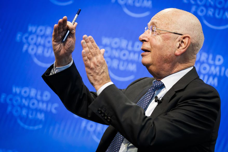 "Klaus Schwab, Founder and Executive Chairman of the World Economic Forum, WEF, gestures during a press conference, in Cologny near Geneva, Switzerland, Tuesday, January 14, 2020. The World Economic Forum unveiled the program for its 50th Annual Meeting in Davos, Switzerland, including the key participants, themes and goals. The overarching theme of the Meeting, which will take place from 21 to 24 January, is ""Stakeholders for a cohesive and sustainable world"".(Valentin Flauraud/Keystone via AP)"