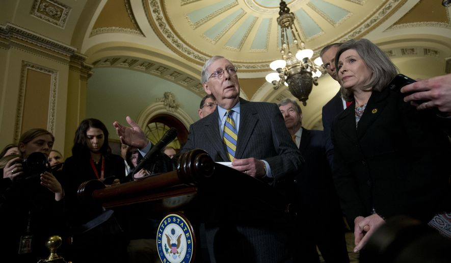 Senate Majority Leader Mitch McConnell, R-Ky., accompanied by Sen. Joni Ernst R-Iowa, and other senators, speaks outside of the Senate chamber, on Capitol Hill in Washington, Tuesday, Jan. 14, 2020. (AP Photo/Jose Luis Magana)