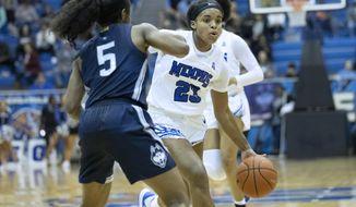 Memphis guard Jamirah Shutes (23) drives defended by Connecticut guard Christyn Williams (5) in the first half of an NCAA college basketball game Tuesday, Jan. 14, 2020, in Memphis, Tenn. (AP Photo/Nikki Boertman)