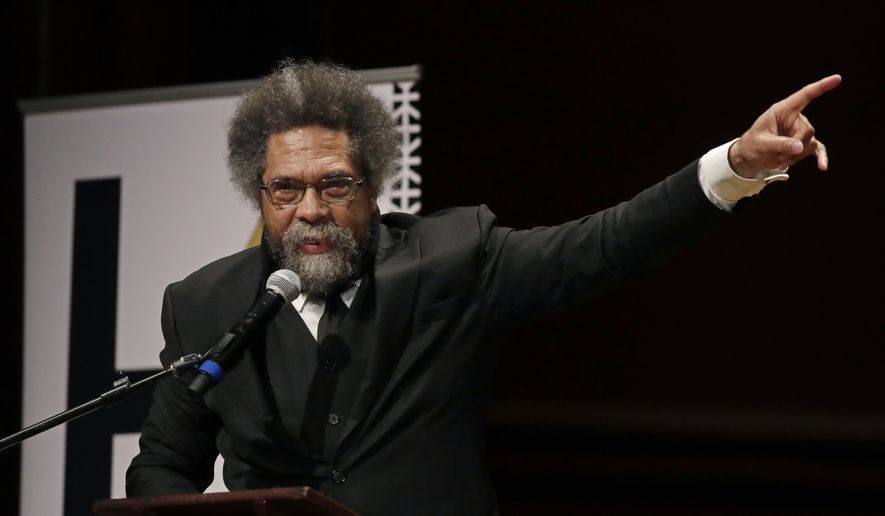 Harvard Professor Cornel West speaks during ceremonies on campus where W.E.B. Dubois Medals were awarded for contributions to black history and culture, Tuesday, Oct. 22, 2019, in Cambridge, Mass. (AP Photo/Elise Amendola) **FILE**
