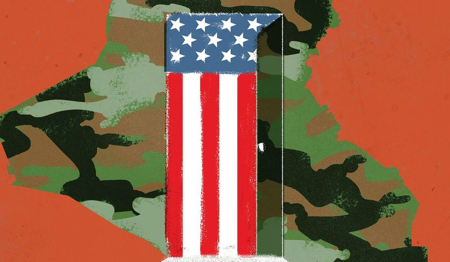 U.S. forces leave Iraq illustration by Linas Garsys / The Washington Times