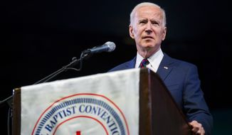 Former Vice President and presidential candidate Joe Biden speaks at the National Baptist Convention, USA, Inc. at the Arlington Convention Center in Arlington, Texas, Wednesday, Jan. 15, 2020. (Ashley Landis/The Dallas Morning News via AP)