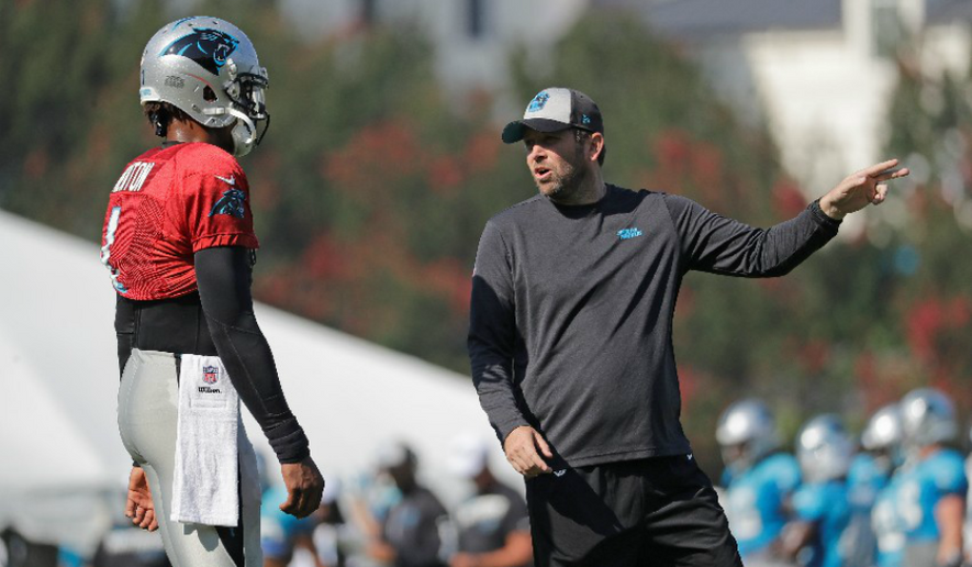 Washington Redskins offensive coordinator Scott Turner coached Cam Newton when he held the same position under Ron Rivera with the Carolina Panthers. Turner is expected to be judged on whether he can develop Redskins quarterback Dwayne Haskins. (AP Photo) ** FILE **