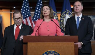 Speaker of the House Nancy Pelosi, D-Calif., flanked by House Judiciary Committee Chairman, Rep. Jerrold Nadler, D-N.Y., left, and House Intelligence Committee Chairman Adam Schiff, D-Calif., as he speaks during a news conference to announce impeachment managers at the Capitol in Washington, Wednesday, Jan. 15, 2020. (AP Photo/J. Scott Applewhite)