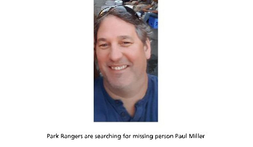 FILE - This undated image posted in July, 2018 on the Joshua Tree National Park Twitter page shows information about Paul Miller, 51, a Canadian man missing since heading out for a hike on July 13, 2018, in the Southern California desert park. Skeletal remains found in December, 2019 in Joshua Tree National Park were identified as Miller, officials said Wednesday, Jan. 15, 2020. The bones were spotted during an analysis of photos taken in a remote section of the park last summer. The remains were identified this week by the San Bernardino County Coroner's Office as Miller, the park service said on Twitter. (National Park Service via AP, File)