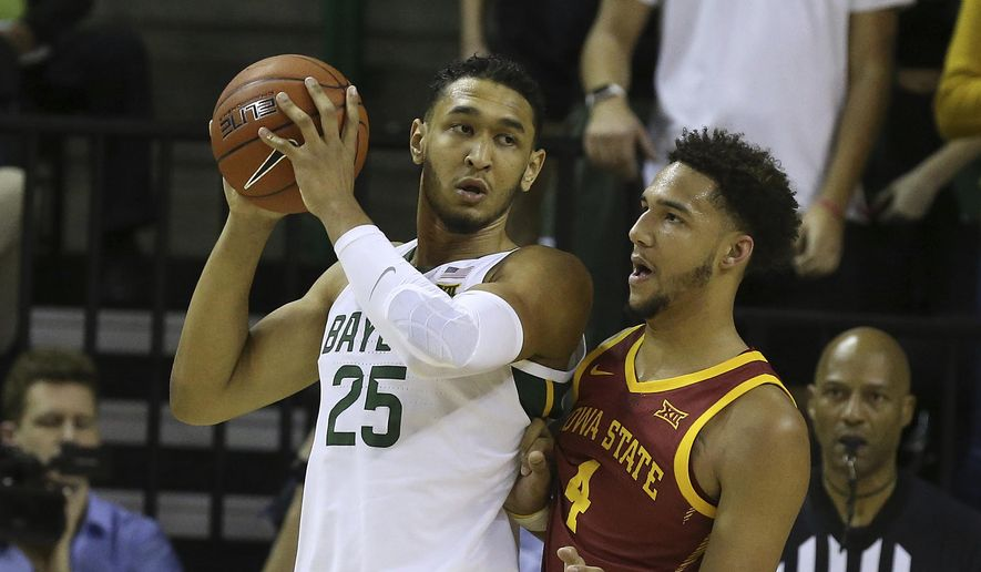 Baylor forward Tristan Clark (25) is guarded by Iowa State forward George Conditt IV (4) during the second half half of an NCAA college basketball game Wednesday Jan. 15, 2020, in Waco, Texas. (AP Photo/Jerry Larson)  **FILE**