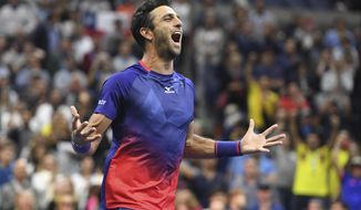 FILE - In this Sept. 6, 2019 file photo, Colombia's Robert Farah reacts after winning the men's doubles final with partner Juan Sebastian Cabal against Marcel Granollers, of Spain, and Horacio Zeballos, of Argentina, during the final match of the U.S. Open tennis championships, in New York. On Tuesday, Jan. 14, 2020, Farah tweeted that he has tested positive for a banned substance and has withdrawn from the Australian Open. (AP Photo/Sarah Stier, File)