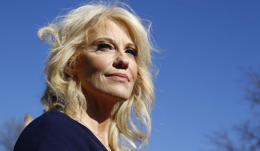 White House counselor Kellyanne Conway pauses as she speaks to the media outside the White House, Thursday, Jan. 16, 2020, in Washington. (AP Photo/Steve Helber)