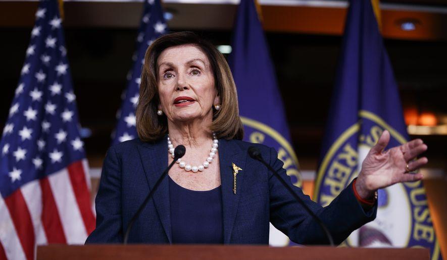 Speaker of the House Nancy Pelosi of Calif., speaks during a news conference, on Capitol Hill in Washington, Thursday, Jan. 16, 2020. (AP Photo/Matt Rourke) ** FILE **