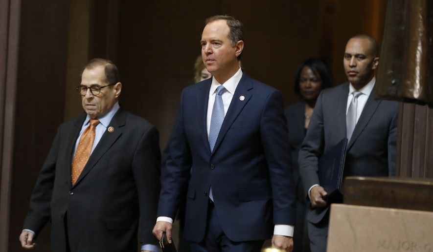 Impeachment managers, House Judiciary Committee Chairman, Rep. Jerrold Nadler, D-N.Y., left, and House Intelligence Committee Chairman Adam Schiff, D-Calif., center, walk from the Senate with Rep. Hakeem Jeffries, D-N.Y., and Rep. Val Demings, D-Fla., at the Capitol in Washington, Thursday, Jan. 16, 2020. (AP Photo/Julio Cortez)