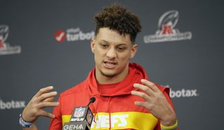 Kansas City Chiefs quarterback Patrick Mahomes answers a question during a news conference for this weeks AFC conference championship NFL football game at Arrowhead Stadium in Kansas City, Mo., Wednesday, Jan. 15, 2020. (AP Photo/Orlin Wagner)  **FILE**