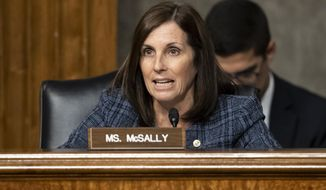 In this Tuesday, Dec. 3, 2019, photo, Sen. Martha McSally, R-Ariz., speaks during a hearing of the Senate Armed Services Committee in Washington on Capitol Hill. (AP Photo/Alex Brandon) **FILE**
