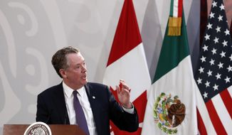U.S. Trade Representative Robert Lighthizer speaks during an event to sign an update to the North American Free Trade Agreement, at the national palace in Mexico City, Tuesday, Dec. 10. 2019. (AP Photo/Marco Ugarte) ** FILE **