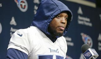 Tennessee Titans running back Derrick Henry answers questions before an NFL football practice Thursday, Jan. 16, 2020, in Nashville, Tenn. The Titans are scheduled to face the Kansas City Chiefs in the AFC Championship game Sunday. (AP Photo/Mark Humphrey)