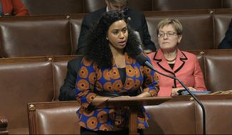 Rep. Ayanna Pressley, D-Mass., speaks as the House of Representatives debates the articles of impeachment against President Donald Trump at the Capitol in Washington, Wednesday, Dec. 18, 2019. (House Television via AP)