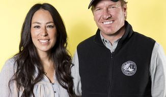 """FILE - In this March 29, 2016, photo, Joanna Gaines, left, and Chip Gaines pose for a portrait in New York to promote their home improvement show, """"Fixer Upper,"""" on HGTV.  Chip and Joanna Gaines' new Magnolia cable network will debut on Oct. 4, 2020. Discovery network president Allison Page told a TV critics meeting on Thursday, Jan. 16, 2020, that the couple will appear in multiple shows, including a cooking show with Joanna and another featuring both of them together. (Photo by Brian Ach/Invision/AP, File)"""