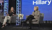 "Nanette Burstein, left, and Hillary Clinton participate in the Hulu ""Hillary"" panel during the Winter 2020 Television Critics Association Press Tour, on Friday, Jan. 17, 2020, in Pasadena, Calif. (Photo by Richard Shotwell/Invision/AP)"