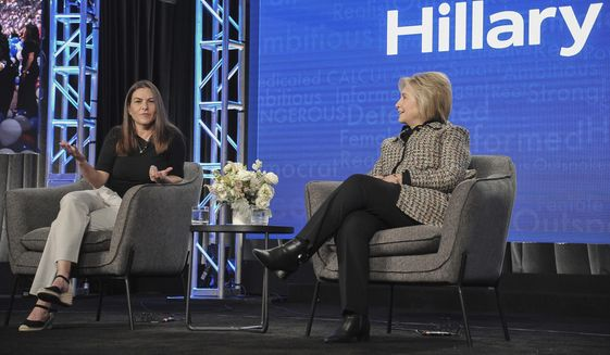"""Nanette Burstein, left, and Hillary Clinton participate in the Hulu """"Hillary"""" panel during the Winter 2020 Television Critics Association Press Tour, on Friday, Jan. 17, 2020, in Pasadena, Calif. (Photo by Richard Shotwell/Invision/AP)"""