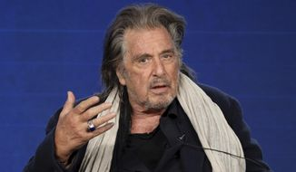 """FILE - In this Jan. 14, 2020, file photo, Al Pacino speaks at the """"Hunters"""" panel during the Amazon TCA 2020 Winter Press Tour at the Langham Huntington, in Pasadena, Calif. Pacino, Robert De Niro and Melissa McCarthy are among the presenters for the Producers Guild of America Awards on Saturday, Jan. 18, 2020. The guild announced Friday that other presenters include Jane Fonda, Taika Waititi, Laura Dern, Constance Wu and Kaitlyn Dever. (Photo by Willy Sanjuan/Invision/AP, File)"""
