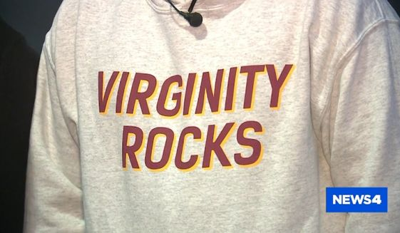 """A 7th-grade boy who wore a """"Virginity Rocks"""" sweatshirt to school in Wentzville, Missouri, was forced to remove the shirt and threatened with suspension if he wore it again, his parents said Wednesday. (KMOV 4)"""