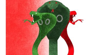 Illustration on Iranian proxies by Alexander Hunter/The Washington Times
