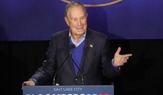 Democratic presidential candidate Mike Bloomberg speaks during a rally Saturday, Jan. 18, 2020, in Salt Lake City. (AP Photo/Rick Bowmer)