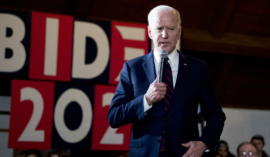 Democratic presidential candidate former Vice President Joe Biden speaks at a campaign stop at Simpson College, Saturday, Jan. 18, 2020, in Indianola, Iowa. (AP Photo/Andrew Harnik)