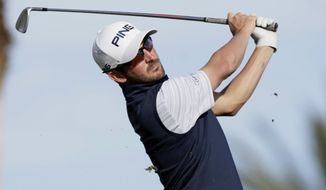 Andrew Landry hits from the eighth tee during the third round of The American Express golf tournament on the Nicklaus Tournament Course at PGA West in La Quinta, Calif., Saturday, Jan. 18, 2020. (AP Photo/Alex Gallardo)