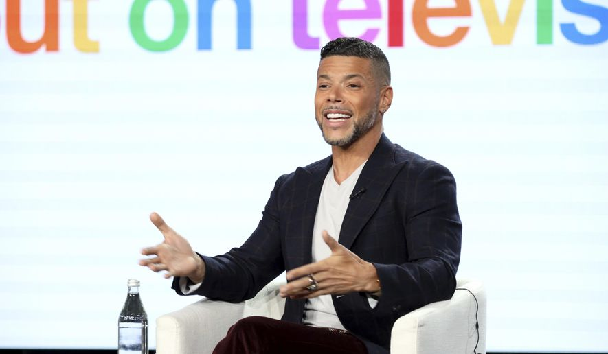 """Wilson Cruz speaks at the """"Visible: Out on Television"""" panel during the Apple+ TCA 2020 Winter Press Tour at the Langham Huntington, Sunday, Jan. 19, 2020, in Pasadena, Calif. (Photo by Willy Sanjuan/Invision/AP)"""
