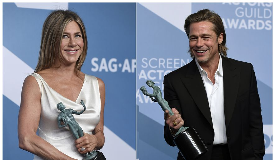 """This combination photo shows Jennifer Aniston with the award for outstanding performance by a female actor in a drama series for """"The Morning Show,"""" left, and Brad Pitt with the award for outstanding performance by a male actor in a supporting role for """"Once Upon a Time in Hollywood"""" at the 26th annual Screen Actors Guild Awards at the Shrine Auditorium & Expo Hall on Sunday, Jan. 19, 2020, in Los Angeles. (Photos by Jordan Strauss/Invision/AP)"""