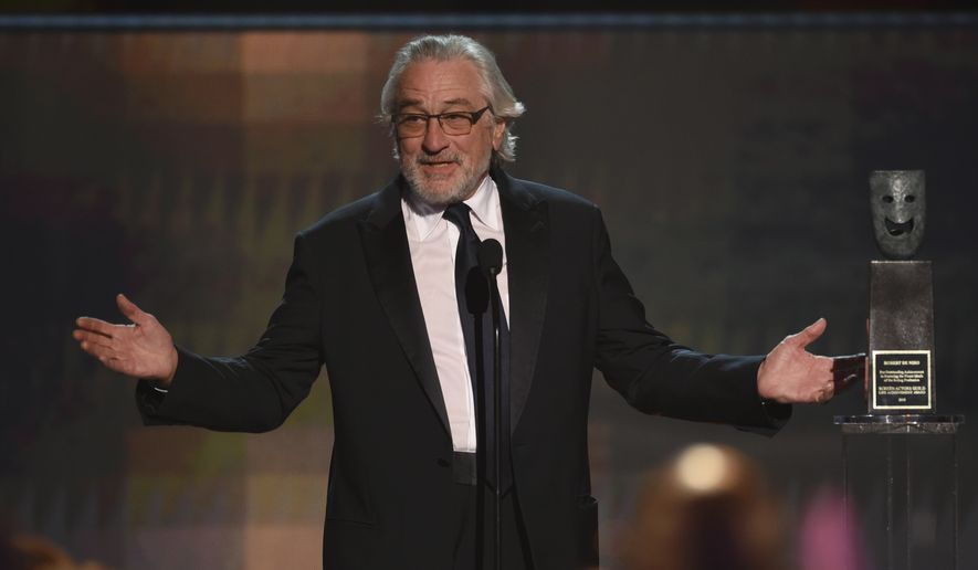 Robert De Niro accept the lifetime achievement award at the 26th annual Screen Actors Guild Awards at the Shrine Auditorium & Expo Hall on Sunday, Jan. 19, 2020, in Los Angeles. (Photo/Chris Pizzello)