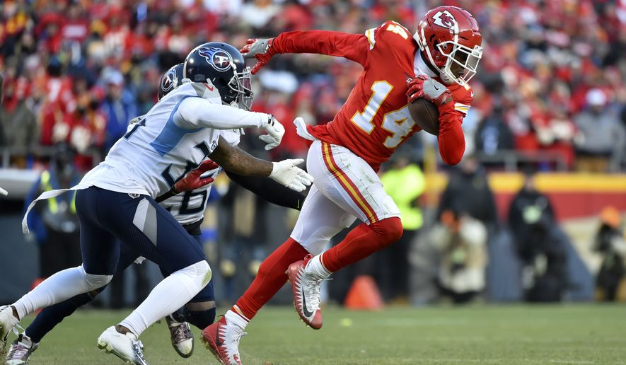 Kansas City Chiefs wide receiver Sammy Watkins (14) during the second half of the NFL AFC Championship football game against the Tennessee Titans Sunday, Jan. 19, 2020, in Kansas City, MO. (AP Photo/Ed Zurga)