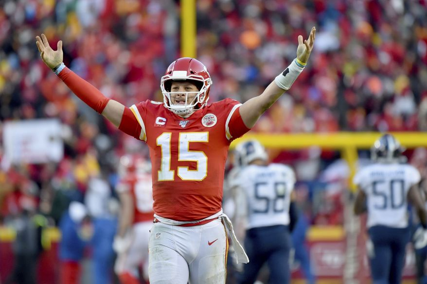 Kansas City Chiefs' Patrick Mahomes celebrates a touchdown pass during the second half of the NFL AFC Championship football game against the Tennessee Titans Sunday, Jan. 19, 2020, in Kansas City, MO. (AP Photo/Ed Zurga)
