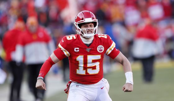 Kansas City Chiefs quarterback Patrick Mahomes (15) during the first half of the NFL AFC Championship football game against the Tennessee Titans Sunday, Jan. 19, 2020, in Kansas City, MO. (AP Photo/Charlie Neibergall)