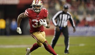 San Francisco 49ers running back Raheem Mostert (31) runs against the Green Bay Packers during the second half of the NFL NFC Championship football game Sunday, Jan. 19, 2020, in Santa Clara, Calif. (AP Photo/Tony Avelar)
