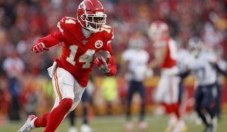 Kansas City Chiefs' Sammy Watkins catches a touchdown pass during the second half of the NFL AFC Championship football game against the Tennessee Titans Sunday, Jan. 19, 2020, in Kansas City, MO. (AP Photo/Jeff Roberson)