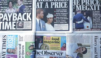 """The front pages of London's Sunday newspapers are displayed in London, Sunday, Jan. 19, 2020. The papers fronted the news that Buckingham Palace says Prince Harry and his wife, Meghan, will no longer use the titles """"royal highness"""" or receive public funds for their work under a deal that allows them to step aside as senior royals. (AP Photo/Frank Augstein)"""