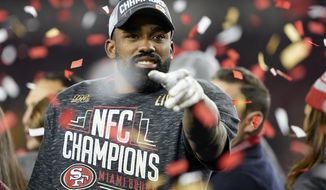 San Francisco 49ers running back Raheem Mostert celebrates after the NFL NFC Championship football game against the Green Bay Packers Sunday, Jan. 19, 2020, in Santa Clara, Calif. The 49ers won 37-20 to advance to Super Bowl 54 against the Kansas City Chiefs. (AP Photo/Tony Avelar)
